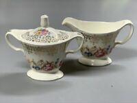 Vintage Edwin M. Knowles Semi Vitreous - Gold Border Floral - Cream + Sugar Set
