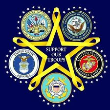 WE SUPPORT OUR TROOPS FLAG YELLOW RIBBON HAT PIN US ARMY MARINES NAVY AIR FORCE