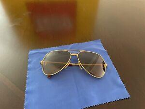 Cartier Santos Vintage Sunglasses Classic Glasses Driving Gold Authentic