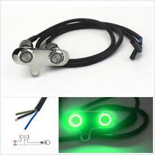 Green LED Motorcycle Handlebar Horn Engine Start Kill Dual Button Self-Return x1