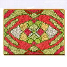 MODERN ABSTRACT PATTERN DESIGN #21 LATCH HOOK RUG KIT from UK Seller, GREEN PINK