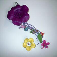 Large Purple Leather Flower Handbag Charm (02)