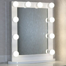 White Hollywood Makeup Vanity Stage Beauty Mirror with LED Bulb Light Dimmer