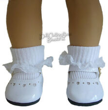 """For 18"""" American Girl Doll Clothes White Patent Shoes & Lace Trim Socks"""