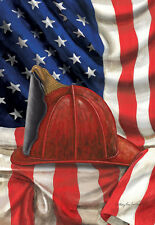 "FM FIREMAN HAT PATRIOTIC 12""X18"" AMERICAN GARDEN FLAG BANNER . SUPPORT RED LINE"