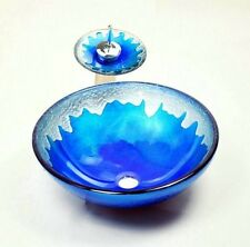 Blue Tempered Glass Round Bathroom Vanity Vessel Sink With Waterfall Faucet Set
