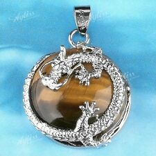 Tiger's Eye Gemstone Round Coin Bead Pendant Fit Necklace Silver Plated Dragon