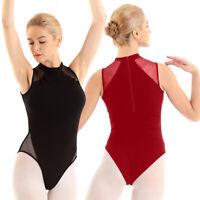 Womens Leotard Mesh Sleeveless Ballet Dance Gymnastics Bodysuit Adult Dancewear