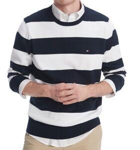 Tommy Hilfiger Mens Sweater Blue Size Large L Crewneck Stripe Pullover $69 #012