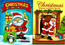 2 x Christmas Puzzle Activity Sticker Colouring Books Kids Xmas Stocking Filler