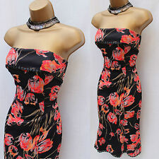 KAREN MILLEN Celebrity Black Coral Tulip Flower Print Chelsy Bandeau Dress 8 UK