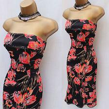 UK 8 KAREN MILLEN Celebrity Black Coral Tulip Flower Print Chelsea Bandeau Dress