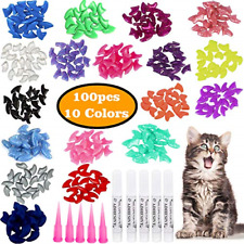 New listing 100pcs Cat Nail Caps Colorful Pet Cat Soft Claws Nail Covers For Cat Claws