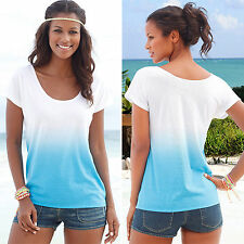 Womens Gradient Short Sleeve Blouse Loose Ladies Summer Casual T-Shirt Tops 6-14