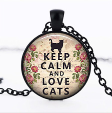 Keep Calm and Love Cats Black Glass Cabochon Necklace chain Pendant Wholesale