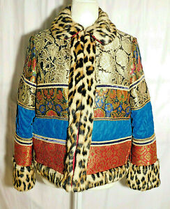 Alice + Olivia Glennie Metallic Patchwork Jacket Leopard Faux Fur Trim S/P NWT