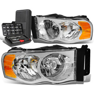 For 2002-2005 Dodge Ram Pickup Pair Chrome/Amber Signal Headlight Lamps+Tool Box
