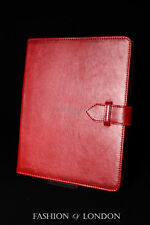 iPad 2 3 & 4 (Red Soft Lambskin) Genuine Real Leather Cover Case Stand Folio