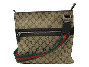 GUCCI Sherry line shoulder bag 145809 GG canvas beige simple used