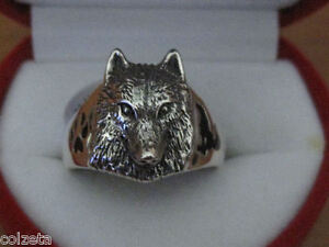 Exquisite WOLF RING sterling silver inlaid with ENAMEL designed by TED ANDREWS