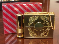 Vintage Goldtone Double Compact Carry All Purse w/ Lipstick UNUSED in Box
