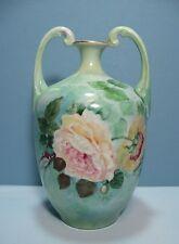 J P L Limoges France Muscle Vase Handpainted Roses