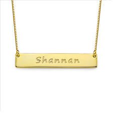 Bar Necklace in 18k Gold Plating over Sterling Silver (USA Seller)