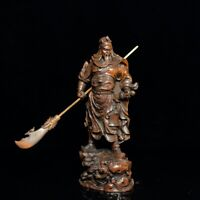 """8"""" Chinese old antique Boxwood wooden hand carved guan gong statue"""