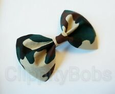 "LARGE HANDMADE 4"" ARMY CAMOUFLAGE GREEN BROWN TAN FABRIC BOW HAIR CLIP OR BOBBLE"