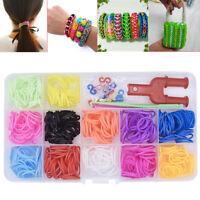 500pcs 12Color Loom Rubber Bands& Needle&Monster Tail For Board Bracelet DIY  uh