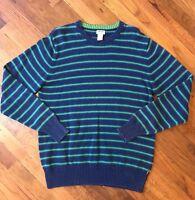Vintage Levis Red Tab Crewneck Sweater Mens Large Blue Green Horizontal Stripe