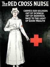 VINTAGE pubblicità PRONTO SOCCORSO CROCE ROSSA INFERMIERA soldati carità poster stampa lv4517