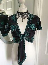 Bolero Warehouse Black Turquoise Embroidery Party Silk Boho Hippy 12