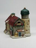 Ceramic Christmas Barn/silo Village Building w/Light Hole 🇺🇸 RETAILER