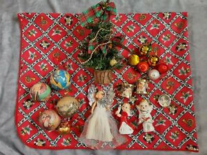 vintage Joblot Christmas decorations angels, tree, Baubles table cloth drums