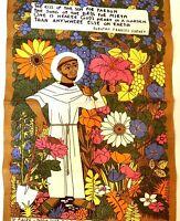 Vintage Irish Linen St Fiacre Patron Saint Of Gardeners Poem 30x20 New (J)