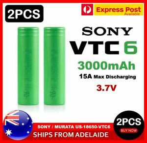 2x Sony US18650 VTC6 3000mAh 30A HIGH CURRENT Rechargeable Lithium Battery
