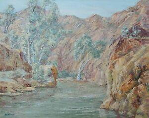 AUSTRALIAN OIL PAINTING - ARKAROOLA GORGE - FLINDERS RANGES BY BURSTON   P191