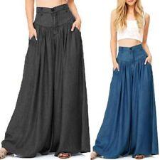 UK 8-24 ZANZEA Women Plain Retro Long Bell-bottom Trousers Party Wide Leg Pants
