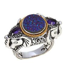 "TRAVELER'S JOURNEY DRUSY QUARTZ AND AMETHYST ""ELEPHANT"" 2-TONE RING SIZE 8 HSN"