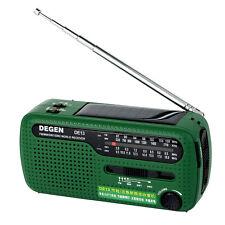DEGEN DE13 FM MW SW Crank Dynamo Solar Emergency Radio World Receiver LED US