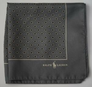 NEW RALPH LAUREN POLO GREY SQUARE MADE IN ITALY 100% SILK POCKET SQUARE