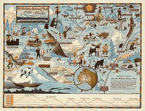 1937 Pictorial Map Mt. McKinley National Park Alaska Wall Art Poster Print 11x14