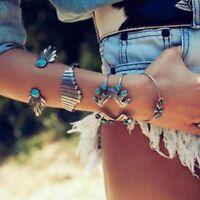 pulsera tribal aleacion Boho Gypsy Silver Plate Bracelets Cuff Bangle Jewellery