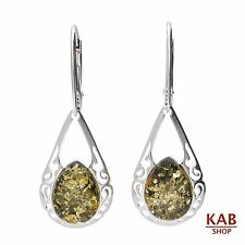 GREEN BALTIC AMBER STERLING SILVER 925 JEWELLERY EARRINGS. KAB-149
