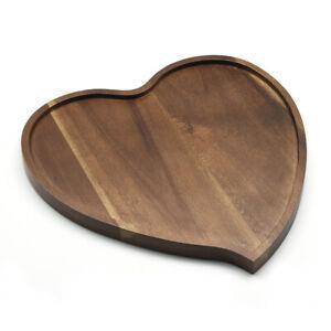 Premium Acacia Wood Heart Shape Tea Coffee Snack Food Plate Drink Tray 4568