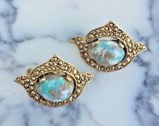 Sarah Coventry Remembrance Clip On Earrings Gold Tone w/Marbled Turquoise 1.25""