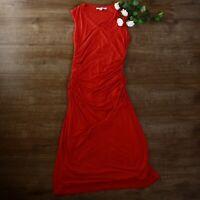 Boden Bodycon Wiggle Orange Stretch Ruched Dress Size 12L Midi Sleeveless V Neck