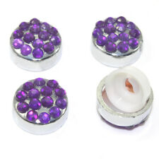 4 Purple Diamond Crystals Bling Auto License Plate Frame Screw Bolt Covers Caps