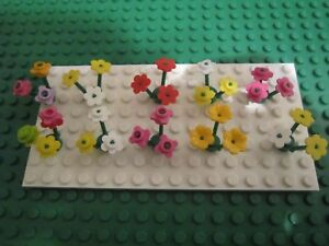 Lego Multi Coloured FLOWERS / PLANTS - 10 x Clusters with Triple Stems